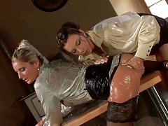 Sticky wet ladies in blouses finger pussy tubes