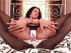 Look at her sexy legs in black pantyhose tubes