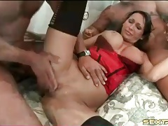 Curvy milf wears lingerie for hardcore threesome tubes
