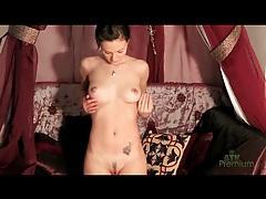 Skinny brunette with little boobs models body tubes
