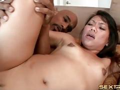 Black cock gives her a huge facial tubes