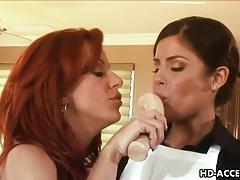 Redhead milf wants young lesbian tongue on her cunt tubes