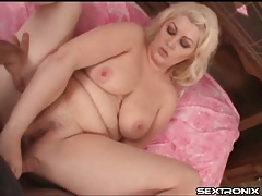 Fatty rubs his cock on her slutty pussy tubes