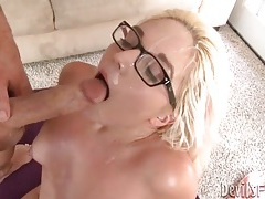 Big facial cumshot for hot blonde in glasses tube