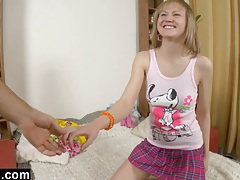 Teen ass fingered and toyed after school tubes