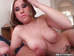 Chubby girl lubes him up and strokes him tubes