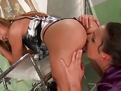 Finger banging a hot lesbian bent over tubes
