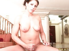 Beautiful girl handjob ends in big cumshot tubes