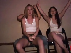 Drinking chicks play in wet tshirt contest tubes