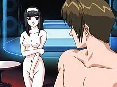 Naked hentai babe strokes and licks his cock tubes