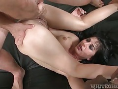 Shaved vagina girl has sex with two stiff cocks tubes