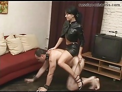 Mistress in leather skirt rides him like a pony tubes