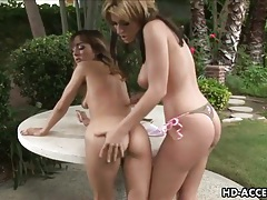 Girls on picnic table finger fucking pussies tubes