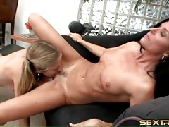 Blonde in pigtails eats out cunt of india summer tubes