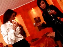 Sexy babes drink champagne in satin blouses tubes