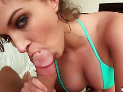 Cocksucking brunette with big tits in bikini tubes