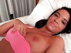 Sporty girl with tanned body sucks a dick tubes