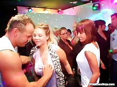 Male dancers blown by beautiful women at party tubes