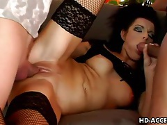 Hottie with small boobs double penetrated tubes
