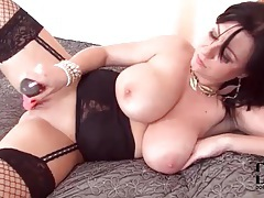 Babe in black lingerie fucks pussy with toy tubes