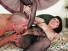 Massaging and eating out mature in lingerie tubes