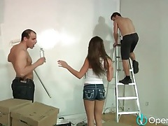 Brunette sucks the cock of the house painters tubes