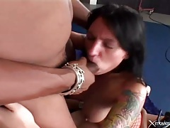 Tattooed slut in boots gangbang fucked deep tubes