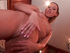 Cherry jul drops bathrobe and caresses her body tubes