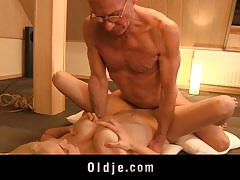 Cute lonely blonde fucks 2 old man  as she lost her lover tubes