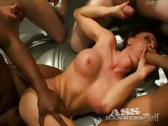 Horny bitches in gangbang video like anal tubes