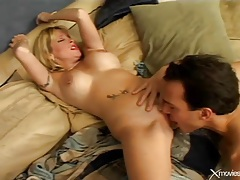 Tattooed blonde milf in red lipstick fucks tubes