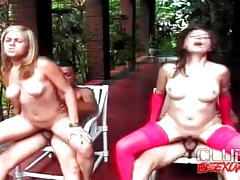 Latin women fucked lustily in outdoor foursome tubes
