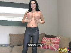 Fakeagentuk huge big tits young porn wannabe goes all the way in casting tubes