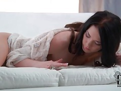 Small boobs brunette fucks shaved pussy with toy tubes