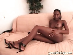 Black teen in high heels sucks on cock tubes