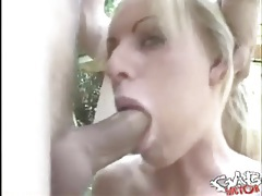 Blue eyed girl with fake tits gets a facefuck tubes