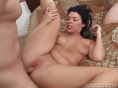 Girl sucks dick as cock fucks her wet pussy tubes