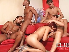 Cocksucking and all holes anal in bisexual orgy tubes
