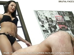 Beautiful mistress flogs him and sits over his face tubes