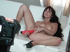 Sexy black high heels on horny toy fucking girl tubes