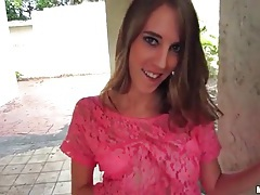 Blown outdoors by girl in pink lace top tubes