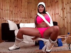 Ski boots and pink lingerie on a babe tubes
