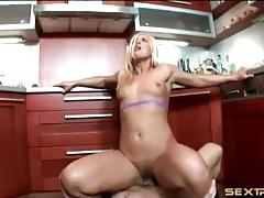Sexy blonde fucked hard on kitchen floor tubes