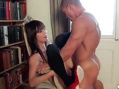 Asian in stockings and heels fucked in her cunt tubes