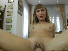 Skinny girl rides his boner both ways in pov tubes