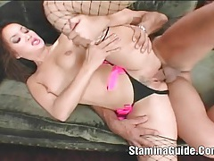 Beautiful katsuni wrenched in ass and pussy tubes