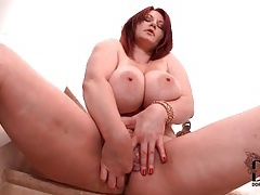 Solo big boobs girl masturbates pussy on stairs tubes