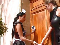 French maid submits to sexy leather mistress tubes