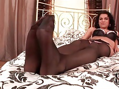 Lingerie and stockings are sexy on brunette girl tubes
