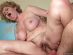 Old lady pussy sits hard on his big young cock tubes